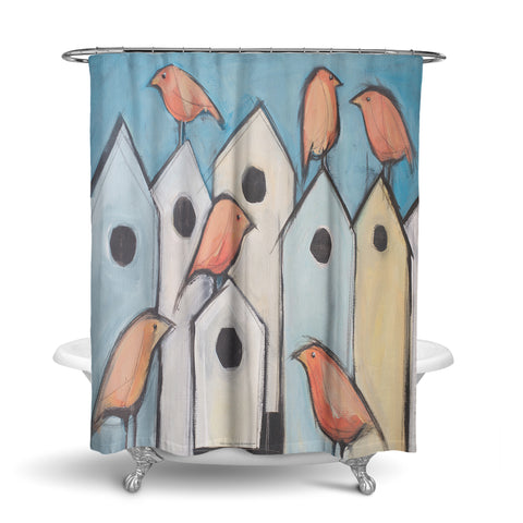 Unique Designer Fabric Shower Curtain Artwork Of Birds On Bird Houses Great Gift Idea For