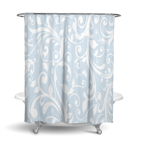 Unique Oxford Cloth Polyester Shower Curtain With Light Blue Floral Swirls