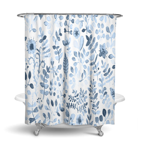 Unique Oxford Cloth Polyester Shower Curtain With Large Light Blue Floral Design