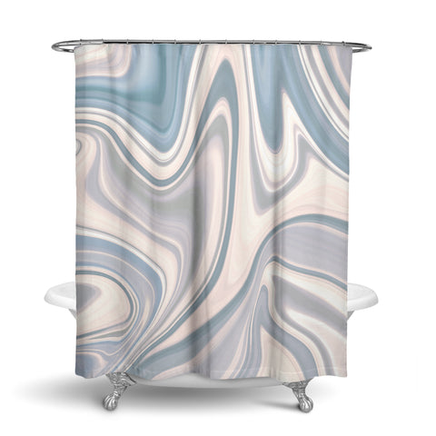 Unique Oxford Cloth Polyester Shower Curtain Of Blue Marble Design