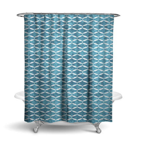 Unique Fabric Shower Curtain With A Repeating Pattern Of Small Blue And Teal Diamond Geometric Shapes
