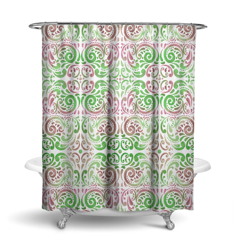 Unique Fabric Shower Curtain Patterned Mosaic With Colors Fuchsia Pink And Green