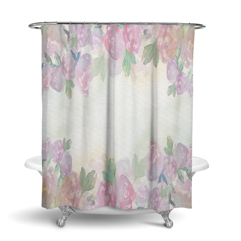 Unique Oxford Cloth Polyester Shower Curtain With Big Soft Pastel Watercolor Florals