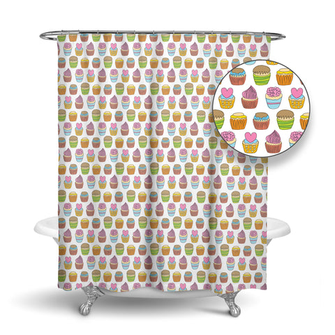 Unique Designer Fabric Shower Curtain With Tiny Cupcakes