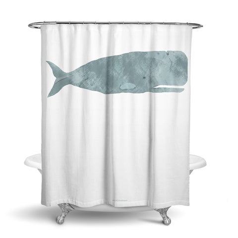 Unique Fabric Shower Curtain Of A Large Turquoise Teal Whale