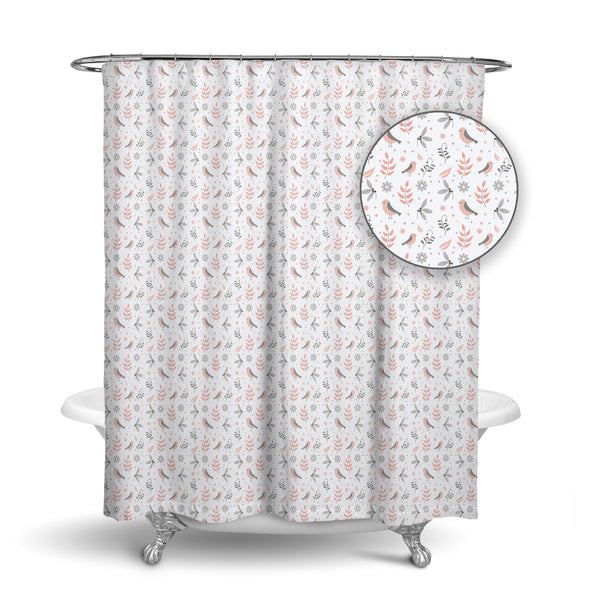 Unique Designer Fabric Shower Curtain Of A Mosaic Pink And Grey Birds Great Gift