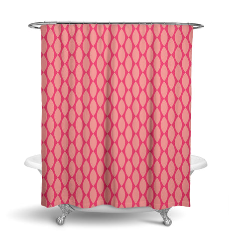 Unique Fabric Shower Curtain Vintage Retro Pattern Pink Red Gift Idea