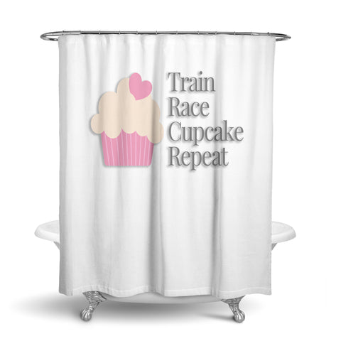Unique Designer Fabric Shower Curtain Of A Graphic Cupcake And Words Train