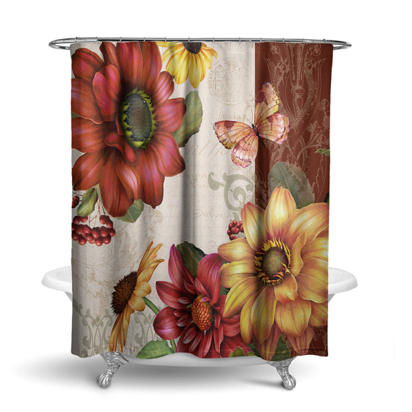 Unique Fabric Shower Curtain With BUTTERFLIES BUTTERFLy AUTUMN Theme FLOWERS DAHLIA DAiSies DAISY BERRIES FALL SCROLLS