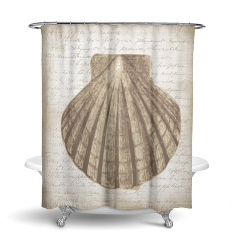 Unique Fabric Shower Curtain With Vintage Nautical Beach Theme Featuring A Shell On An Old Letter