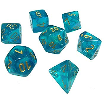 Chessex: 7 Dice Set - Borealis Teal w/ Gold
