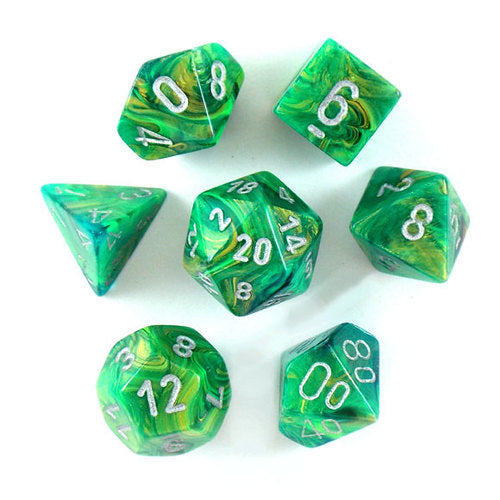 Chessex: 7 Dice Set - Lustrous Green w/ Silver | Game Haven