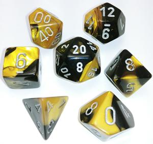 Chessex: 7 Dice Set - Gemini Black & Gold w/ Silver | The Game Haven