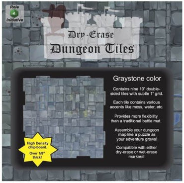 "Role 4 Initiative Dry Erase Tiles: 9 Pack of 10"" Graystone Dungeon Tiles"