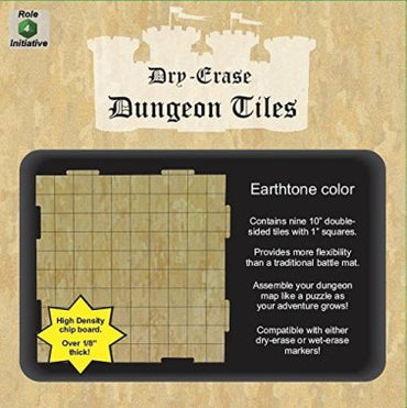 "Role 4 Initiative Dry Erase Tiles: 9 Pack of 10"" Earthtone Dungeon Tiles"