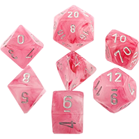 Chessex: 7 Dice Set - Ghostly Glow Poly Pink w/ Silver | Game Haven