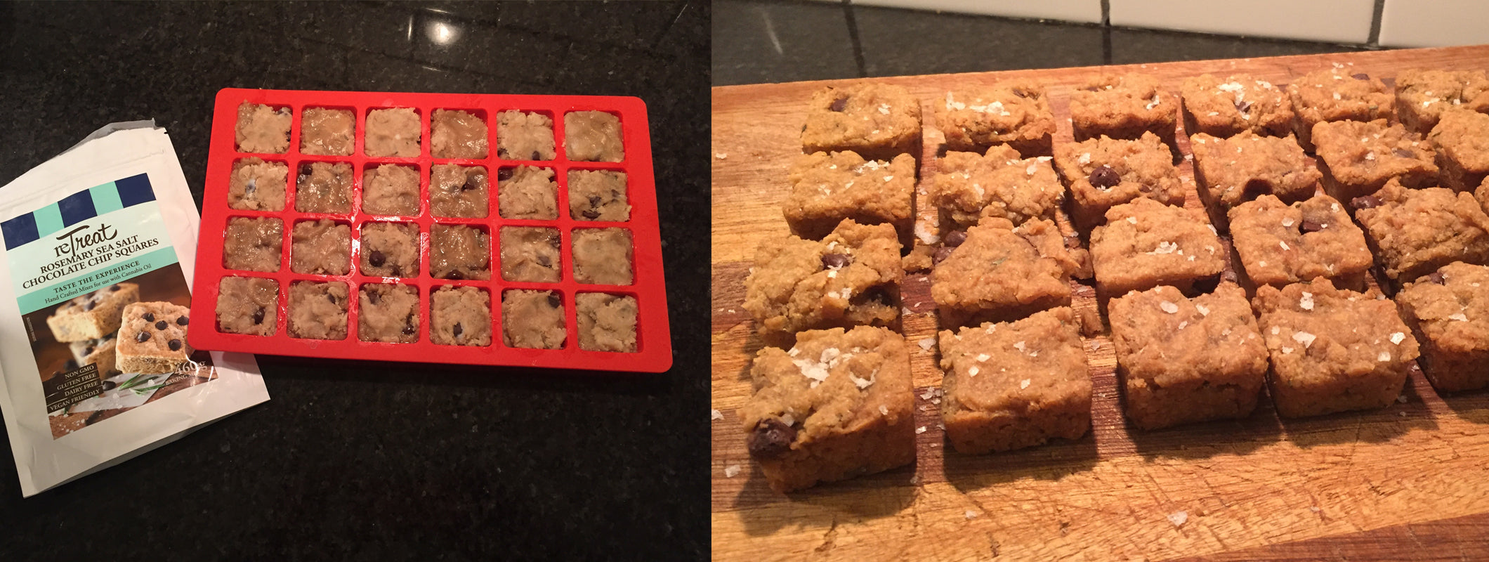 ReTreat Cannabis infused Rosemary Chocolate Chip mini squares