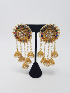 Multi coloured chandelier earrings punjabi jewel house multi coloured chandelier earrings aloadofball Choice Image