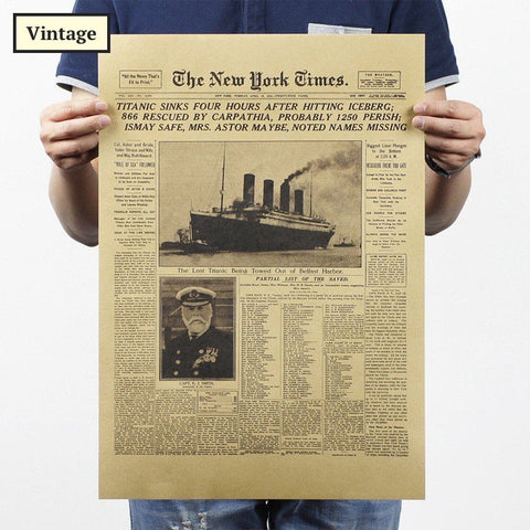 History - Vintage New York Times Titanic Poster