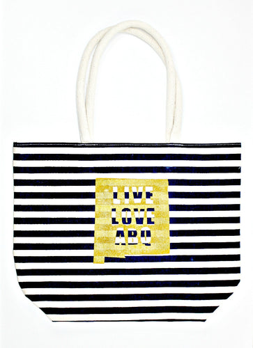 Large Blue & White Striped LLA Tote Bag