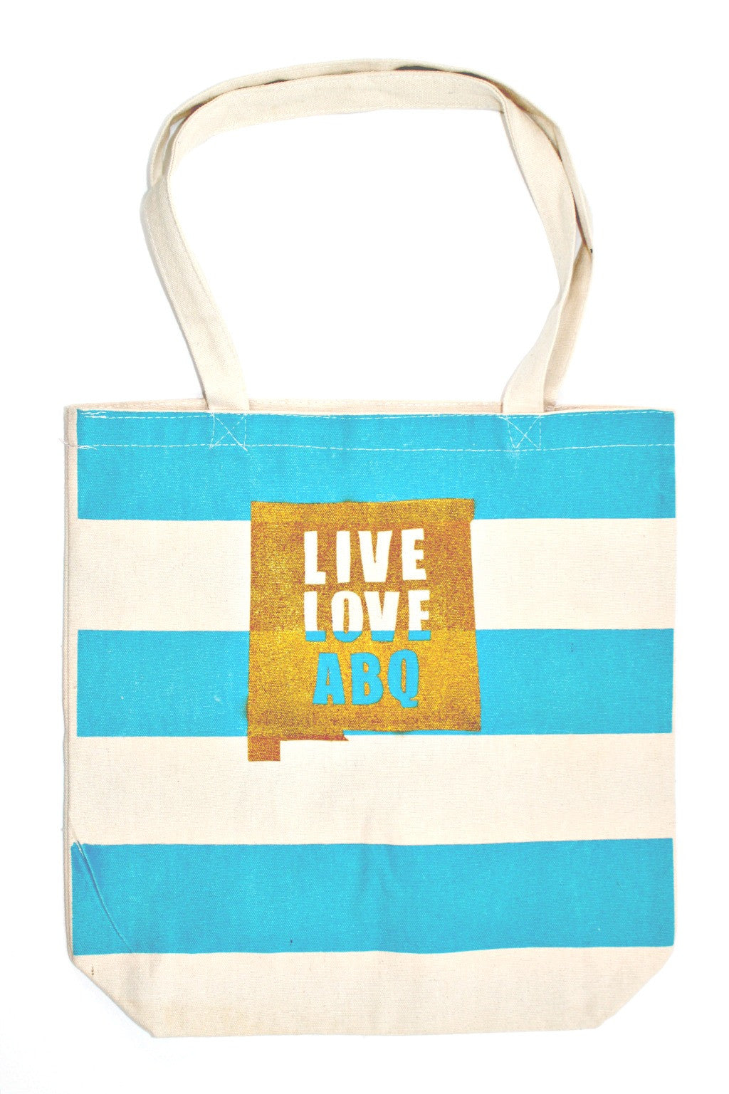 Turquoise Striped Medium LLA Tote Bag