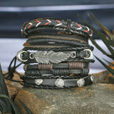 Handmade Braided Leather Bracelet Set