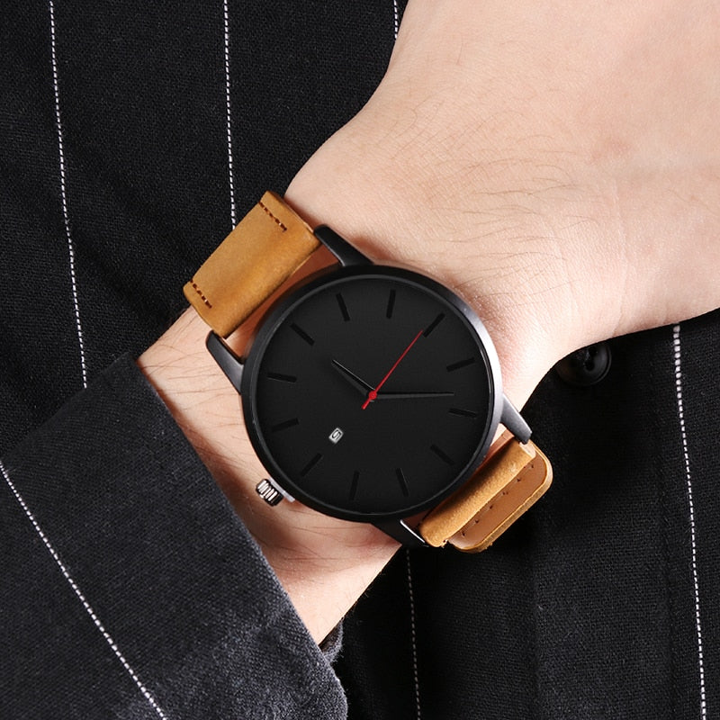 Leather Strap Sport Watch