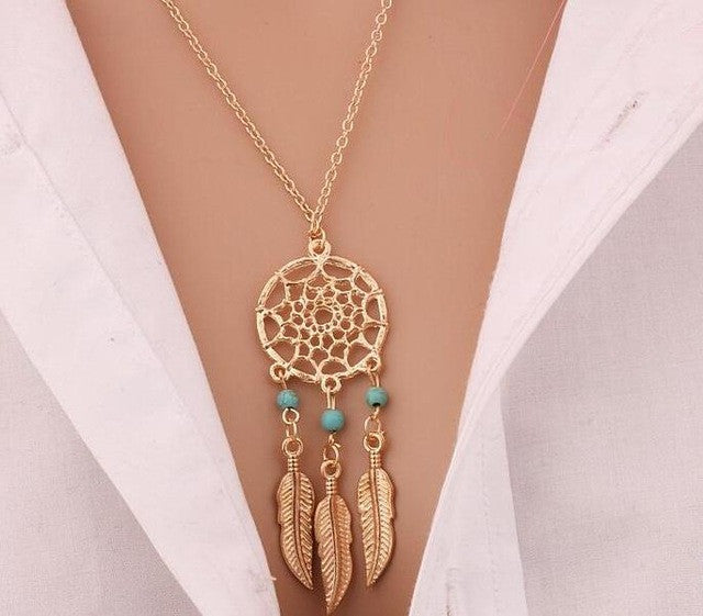 Retro Women Tassels Feather Pendant Necklace