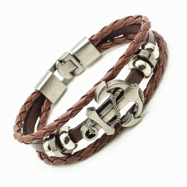 Anchor Unisex Handmade Leather Bracelet