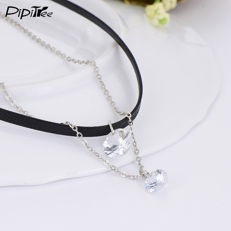 Cute Leather Choker Necklace with Crystal Charm Layer Necklaces & Pendants