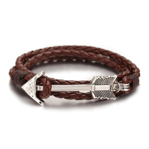 Arrow Anchor Charm Leather Bracelet