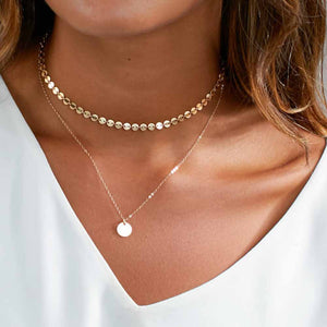 Coin Layered Choker Necklace