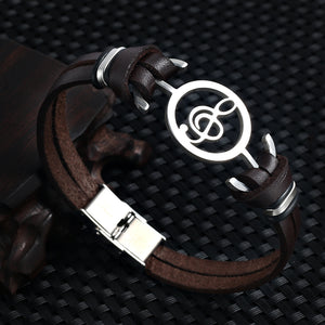 Musical Stainless Steel Genuine Leather Unisex Bracelet