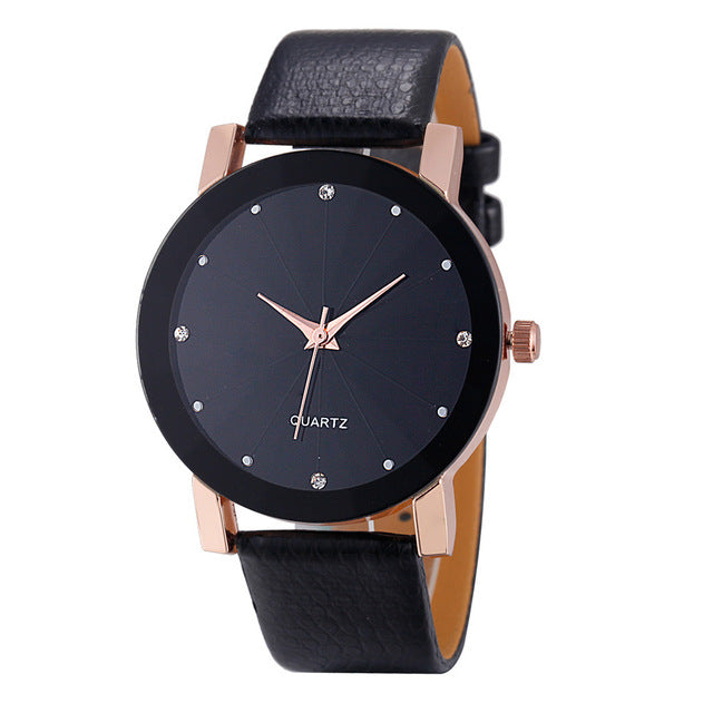 Leather Band Stainless Steel Watch