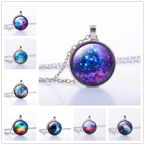 Nebula Space Pendant Necklace Glass Cabochon Sliver Chain Vintage Choker