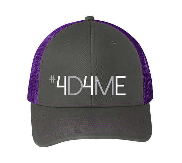 snapback trucker cap, 4d4me, black and purple