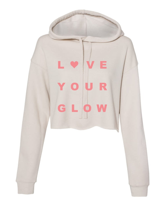 crop, hoodie, bella, canvas, mom, dust, sunset pink print, graphic design, love, glow, women