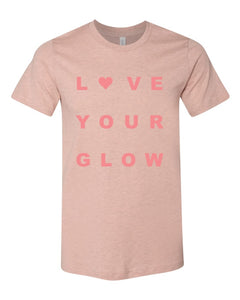 love your glow, crew neck, mom tee, short sleeve, graphic design, unisex, bella, canvas, peach, pink print