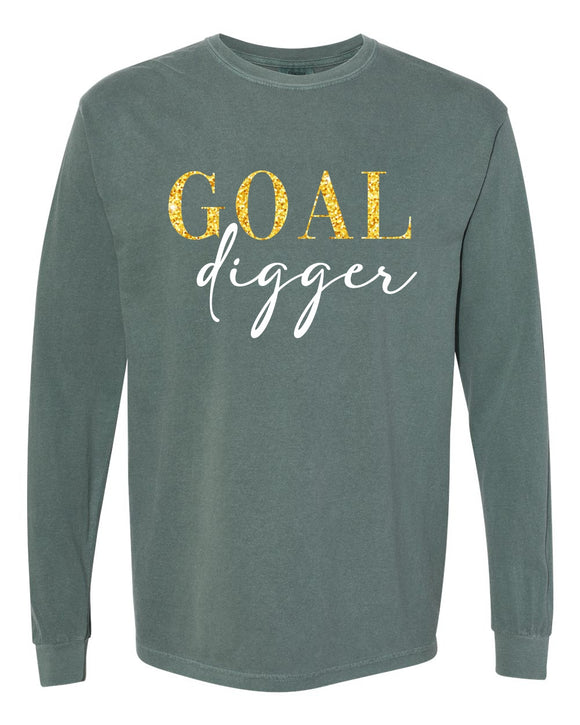 goal digger garment washed long sleeve tunic, crew neck, graphic design, comfort colors, mom long sleeve tunic, spruce with gold and white print