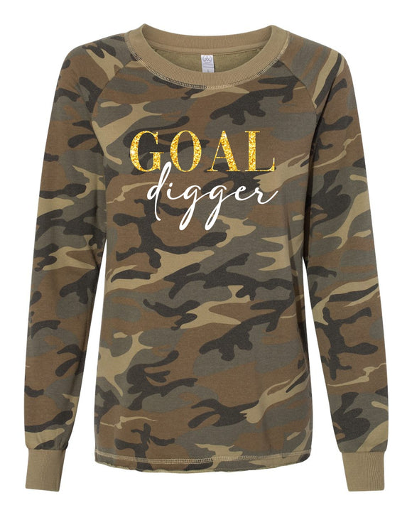 goal digger ladies lazy day pullover, women's lazy day burnout French terry sweatshirt, mom pullover, crew neck, washed camo with gold and white print, graphic design