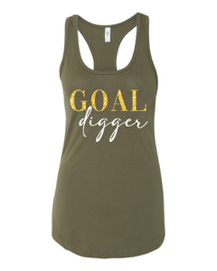 racerback, next level brand, graphic design, military green, gold and white print, goal digger, gym