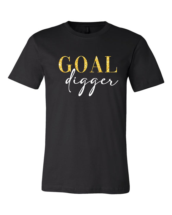 goal digger unisex tee, mom tee, Bella and Canvas brand, short sleeve, graphic design, black with gold and white print, t-shirt