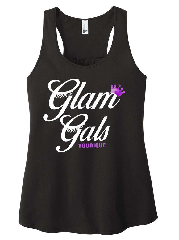 black with pink and white print, tank mom tank, gym, glam gals, ladies tank, makeup, younique, district brand