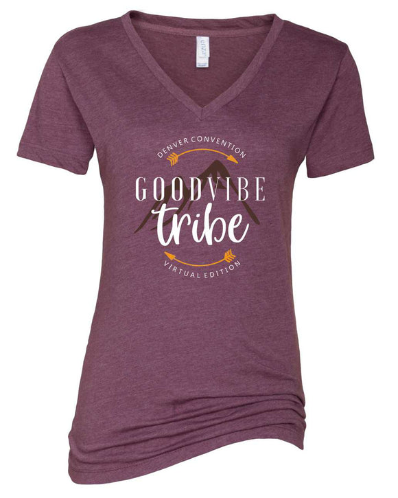 gvt, denver convention, good vibe tribe virtual edition, graphic design, vneck, enza brand, short sleeve, mom tee, heather purple, white print