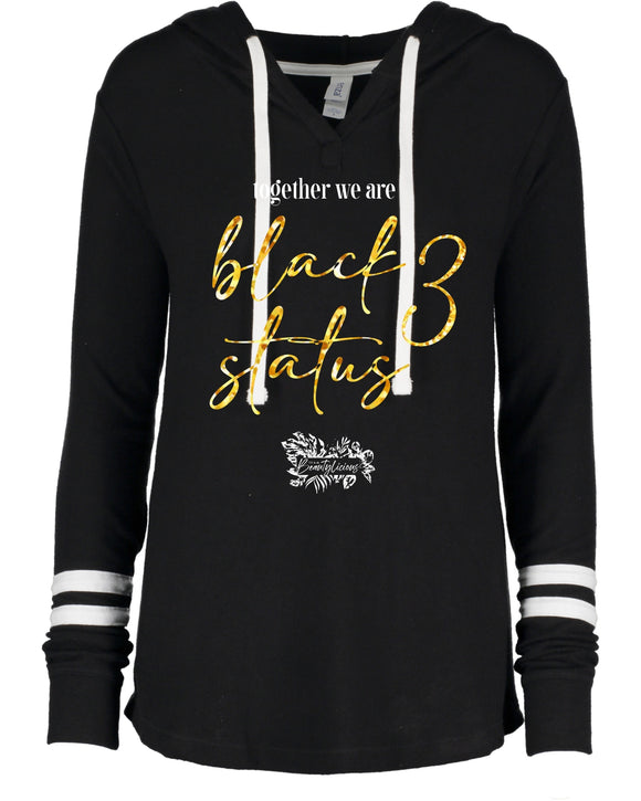 black status 3 ladies fuzzy hacci pullover hood (choose english or french)