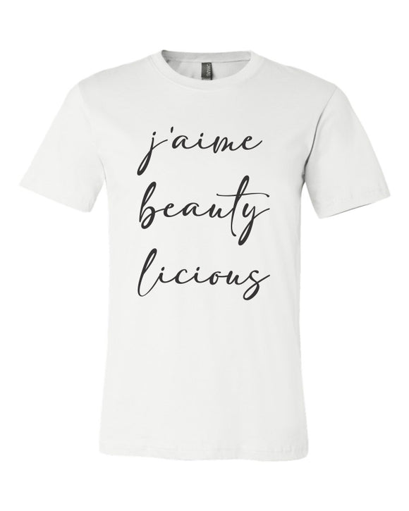 unisex tee, bella brand, canvas brand, short sleeve, crew neck, j'aime beautylicious, white with black print, graphic design, makeup, mom tee, t-shirt