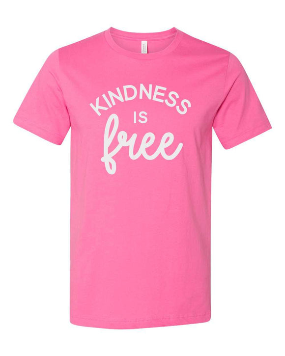 bella and canvas brand, unisex, crew neck, t-shirt, mom tee, kinds is free, graphic design, pink with white print