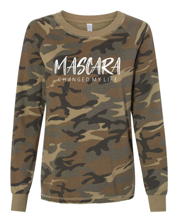 Women's Lazy Day Burnout French Terry Sweatshirt, crew neck, mom sweatshirt,, washed camo, white print, graphic design,. makeup, mascara, mcml