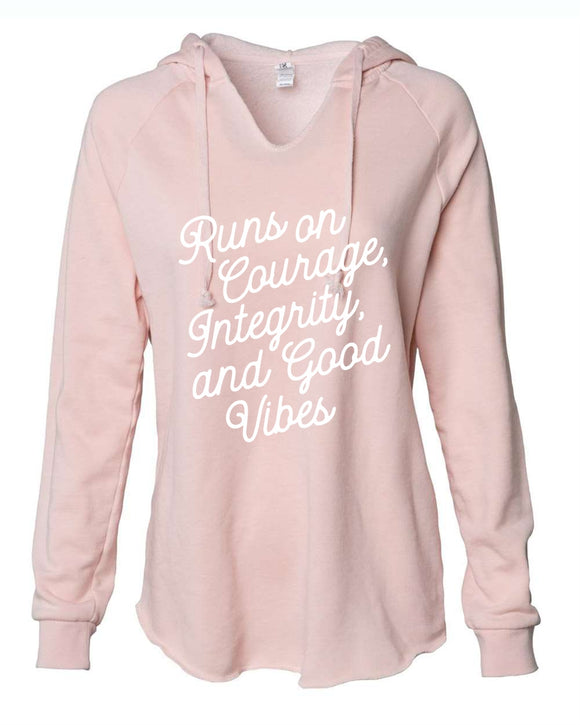 mom hoodie, graphic design, pink, white print, runs, courage, integrity, good vibes, , next level brand, sunset pink, white print, jay american brand, wavewashed, hoodie