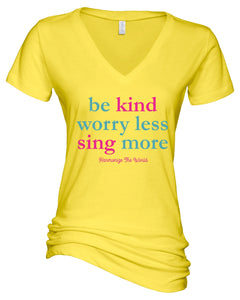 sing more true ladies v-neck 1 color - white